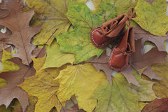 Baby leather shoes Royalty Free Stock Photography