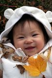 Baby in Leaves. Baby enjoying her time in the autumn leaves stock photo