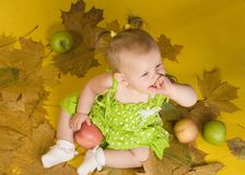 Baby with leaves Royalty Free Stock Photography