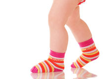 Baby legs walking Stock Photo