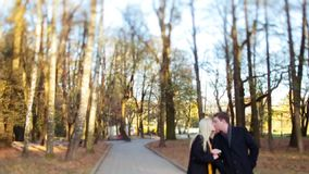 Baby lens view of beautiful couple walking in the autumn city-park arm by arm, laughing and kissing each other. Urban. Love. True love. High autumn trees on the stock video