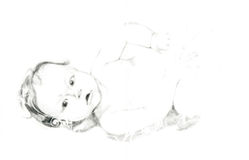 Baby, Leontine 1. Hand drawing picture with portrait of baby Royalty Free Stock Photography