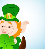 Baby Leprechaun with Shamrock Royalty Free Stock Photo