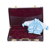 Baby Letterman Jacket in Briefcase Royalty Free Stock Image