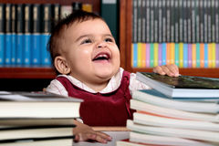 Baby in library Royalty Free Stock Photo