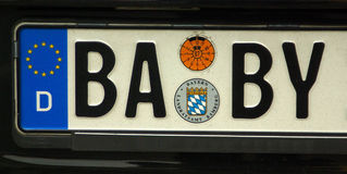 BABY license plate Stock Image