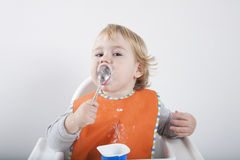 Baby licking spoon Royalty Free Stock Image