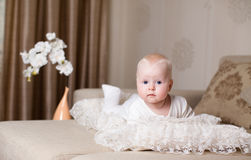 Baby lie on bed Royalty Free Stock Photography