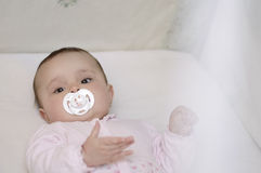 Baby lies in the crib with pacifier Stock Photography