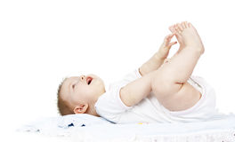 Baby lies on a diaper Stock Image