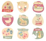 Baby life flat icons. Baby life vector icons set Stock Photo