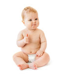 Baby with like gesture. Baby with like or thumbs up gesture on white Royalty Free Stock Images