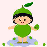 Baby in a lime costume. royalty free illustration