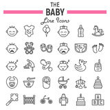Baby line icon set, kid symbols collection Stock Photos