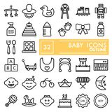 Baby Line Icon Set, Toy Symbols Collection, Vector Sketches, Logo Illustrations, Children Signs Linear Pictograms Stock Photo