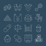 Baby line icon set Royalty Free Stock Photos