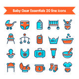 Baby Line Icons set colored 1. Baby Gear Essentials 20 line colored icons set. Fully editable vector illustration Stock Illustration