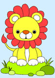 Baby lion cartoon. Baby lion siting on grass, cartoon style Royalty Free Stock Image