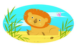 Baby Lion. Cute baby lion sits on the ground behind bushes. Eps10 Royalty Free Stock Image