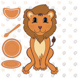Baby lion with dishes Stock Photography