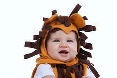 Baby with a lion mask Royalty Free Stock Photography