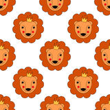 Baby Lion seamless pattern. Cute animal vector background. Royalty Free Stock Photography
