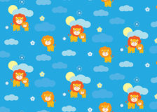 Baby lion seamless pattern Stock Images