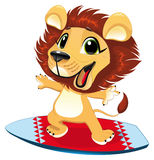 Baby lion with sur. F. Funny cartoon and  sporty character Royalty Free Stock Photography