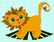 Baby Lion on a Wooden Platform Royalty Free Stock Photo