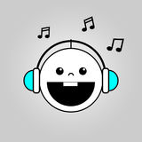 Baby listening to music icon royalty free illustration