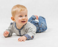 Baby. Little baby , boy , the younger than one year old on white Royalty Free Stock Photos
