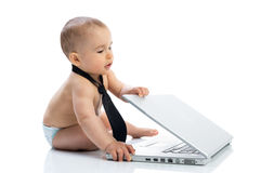 Baby little businessman success finished job Stock Photos