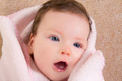 Baby little girl face portrait open mouth Stock Images