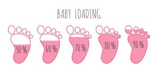 Baby loading concept with various percents full pink footsteps vector illustration set. Baby loading concept with various percents full pink footsteps vector stock illustration