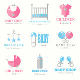 Baby logo collection. Contemporary baby shop logo set. Baby store. Children label elements. Business logo design. Flat style vector illustration Stock Photography