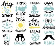 12 baby logo with handwriting Big start, Little Pilot, Super Sailor, Adventure, Be brave, Lets GO, Explore, Captain. 12 children logo with handwriting Big start stock illustration