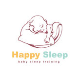 Baby logo template. Sleeping baby. Kid on soft pillow under blanket. Concept of safety and comfort. Healthy sleep. Sign for sleep training site. Baby care Royalty Free Stock Photo