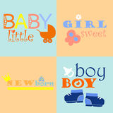 Baby logos and icons with inscriptions. Color baby logos and icons with inscriptions Royalty Free Stock Photos