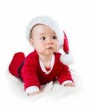 Baby lokalisiert auf weißem Hintergrund in Sankt-Kostüm Stockbilder