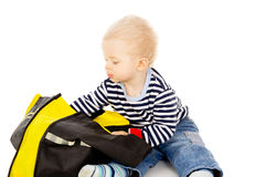 Baby look in the bag that the search for Stock Photo