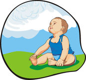 Baby look up the magic clouds. Art illustration of small baby looking up the clouds as a big blue tiger Stock Photo