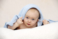 Baby looking at the camera on a peach background Royalty Free Stock Photography