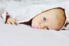 Baby looking out under the blanket Royalty Free Stock Image