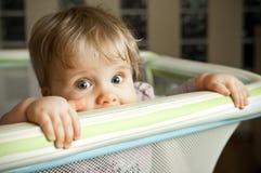 Baby looking over playpen. Cute baby girl looking over top of playpen Royalty Free Stock Photo