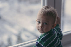 Baby looking at the snow Royalty Free Stock Images