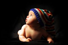 Baby is looking with surprise and open mouth Royalty Free Stock Images