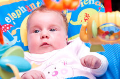Baby looking at toys. Cute little baby girl looking at toys hanging from a rocker / crib Royalty Free Stock Photography