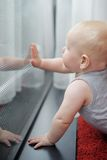 Baby looking at the window Royalty Free Stock Photo