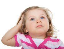 Baby looks at the top Stock Image