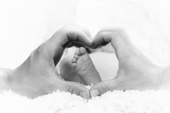 Baby Love. Mother and father encircle their hands around their baby's foot Stock Photography